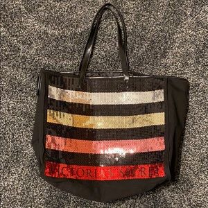 Victoria's Secret Sequin Striped Tote